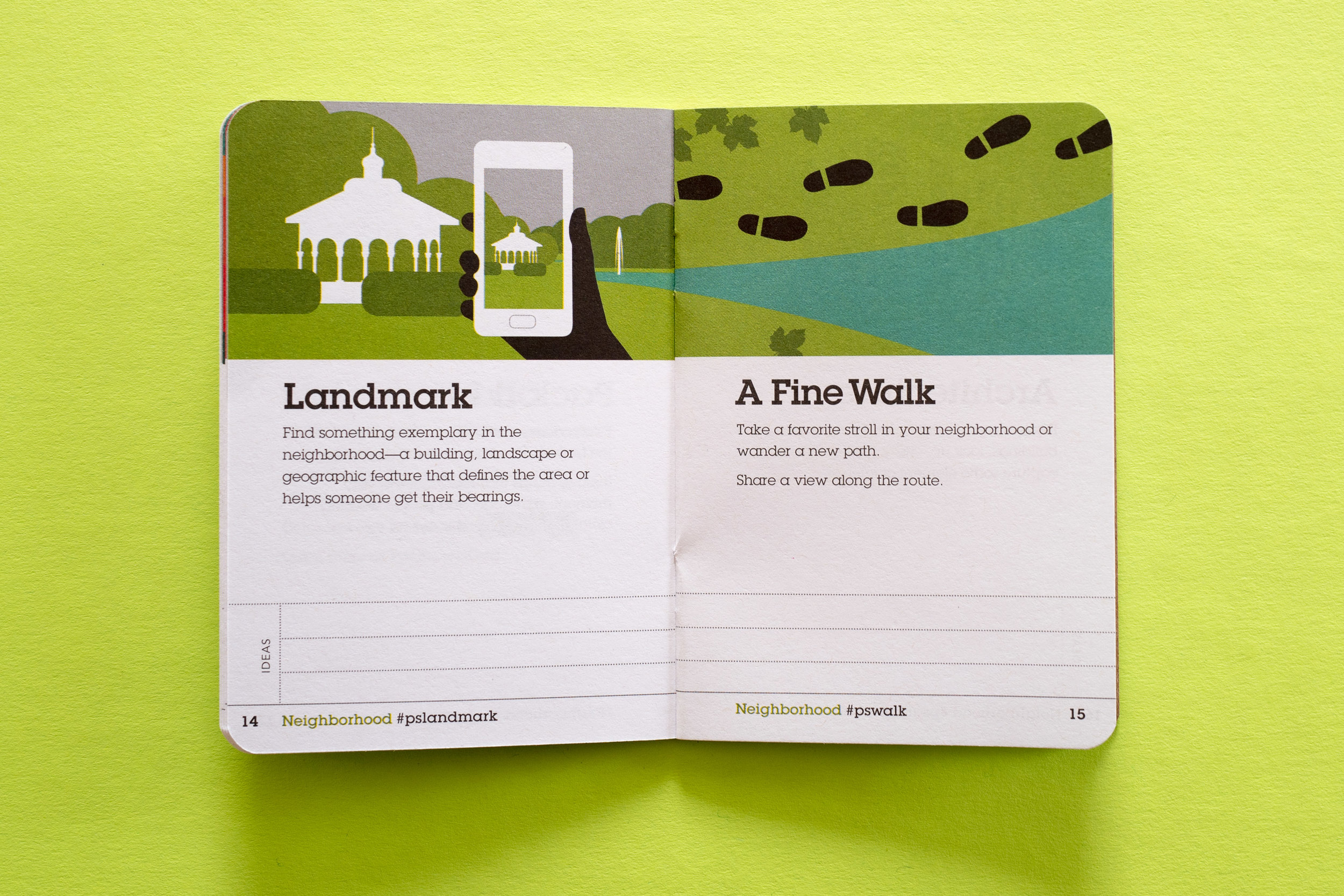 A spread from the  Neighborhood  section of the Guidebook   Design & Photo by Chris Glass