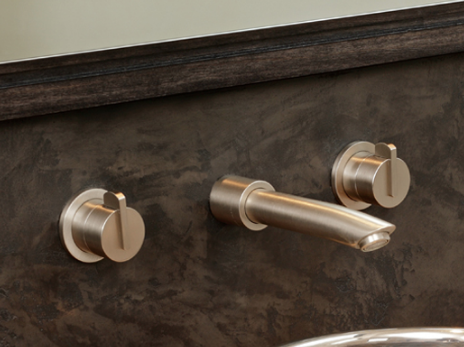 Brass Taps - Brass is the new copper. This image shows the new brushed brass finish from Samuel Heath. It just screams luxury and we love it!