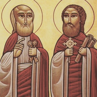 """Hail to our father Peter, and our teacher Paul, the great pillars, for the confirmation of the believers."" Blessed Feast of the Apostles!"