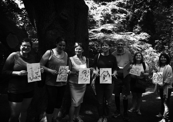 Forest Immersion participants at Sydenham Hill Wood kindly show off their beautiful oak-ink and charcoal impressions, created using materials sourced from the surrounding trees.