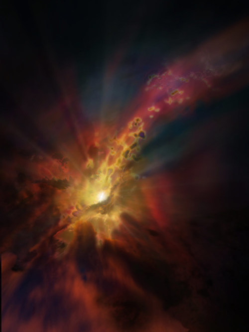 The cosmic weather report, as illustrated in this artist concept, calls for condensing clouds of cold molecular gas around the Abell 2597 Brightest Cluster Galaxy. The clouds condense out of the hot, ionized gas that suffuses the space between the galaxies in this cluster. New ALMA data show that these clouds are raining in on the galaxy, plunging toward the supermassive black hole at its center.Credit: NRAO/AUI/NSF; D. Berry / SkyWorks; ALMA (ESO/NAOJ/NRAO)