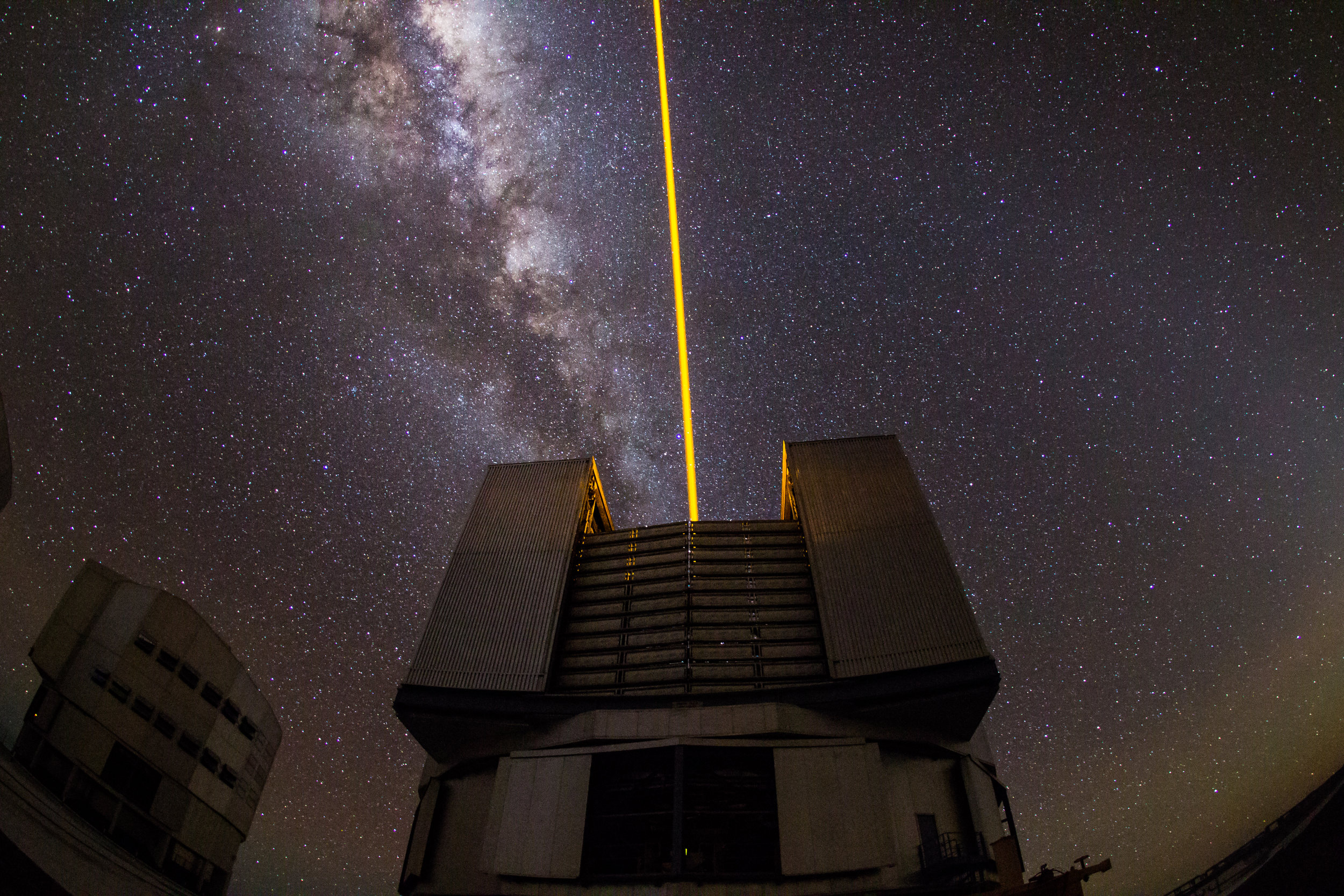 Unit Telescope 4 boasts a Laser Guide Star Adaptive Optics System.  It has recently been upgraded  as part of the Adaptive Optics Facility. © Dr. Grant Tremblay