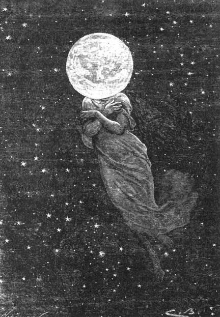 """An illustration from Jules Verne's novel """"Around the Moon"""" drawn by Émile-Antoine Bayard and Alphonse de Neuville"""