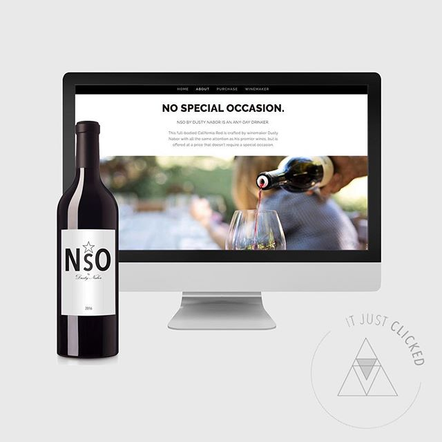 "Stoked to announce launch of NSO Wines and with it, the gift of no longer spending excessive time standing in the grocery aisles trying to decipher one affordable wine from another. Passionate winemaker, Dusty Nabor, released his ""No Special Occasion"" California red with all the same attention as his flagship wines, but offered at an affordable price. Quality wine without the price tag? Now that's one venture I can absolutely support. Well done, Dusty. We craftedt the logo, brand, website and commerce solution #itjustclickeddesign #affordablewine #californiaredwine #NSOwines @nso_wines_by_dusty_nabor #dustynaborwines"