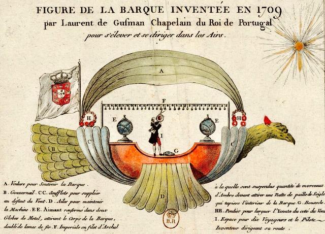 gusmao's flight of fancy, his imagined airship, the passarola