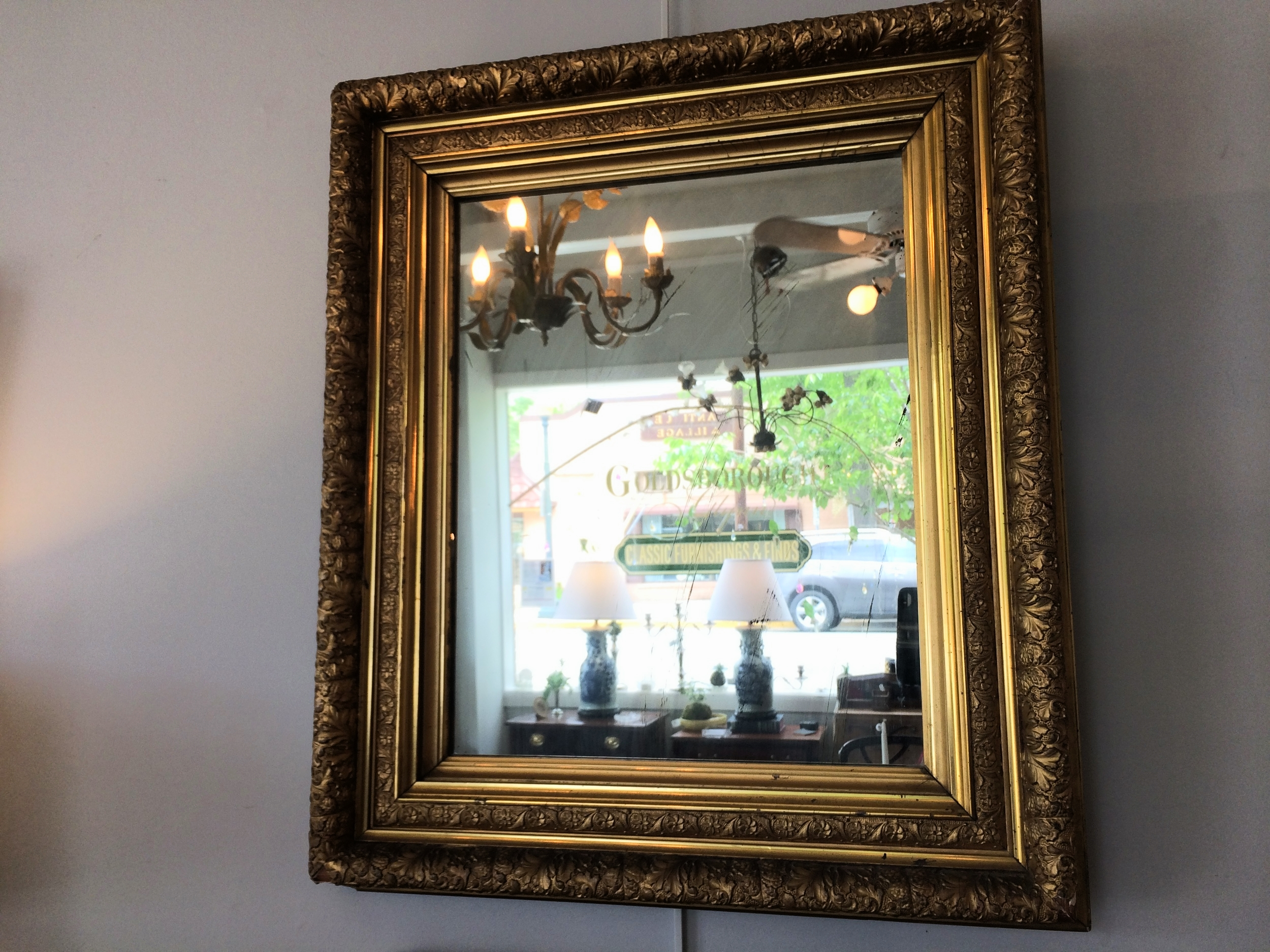 Gilt framed mirror, 28 x 24.25""