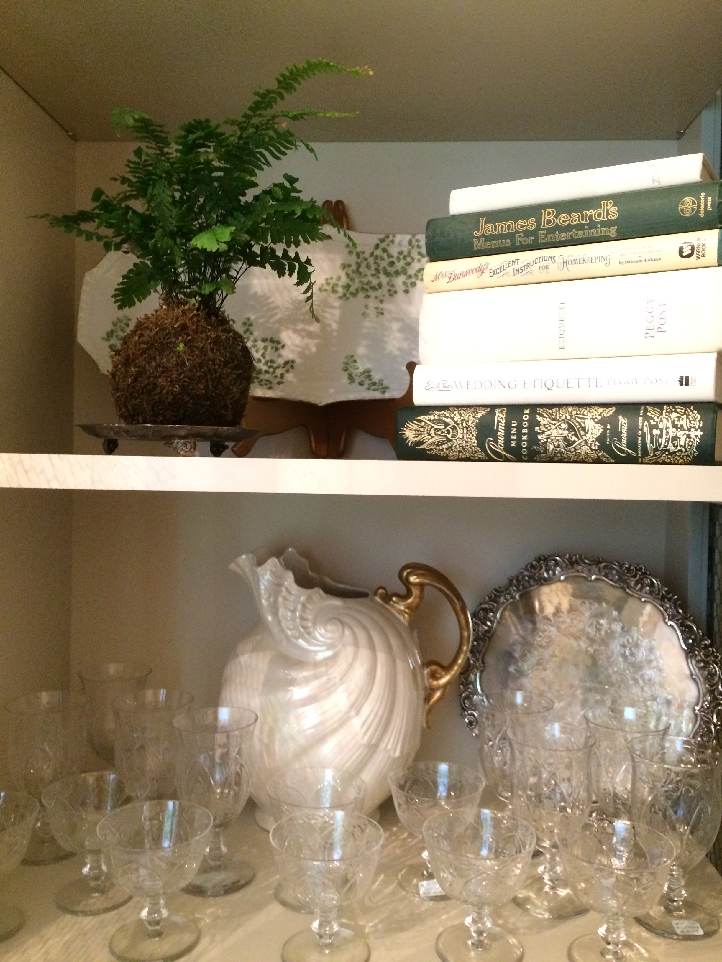 Stem wares, pitchers, trays, a Limoge platter and books