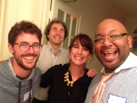 Artist Corps New orleans alumni and music educators nathan money (encore academy), rebecca crenshaw (homer a. plessy school) and david pulphus (Crocker college prep) with mentor and international leader in ARTS LEARNING, ERIC BOOTH.