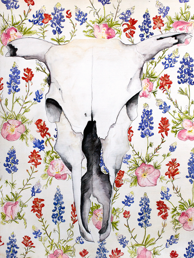 Skull and Wildflowers