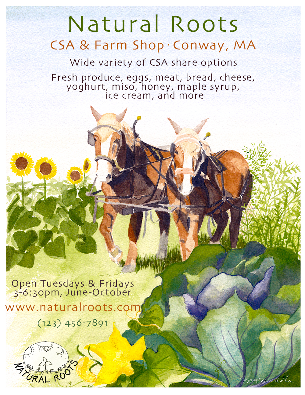 Marketing poster for  Natural Roots Farm , in Conway, MA