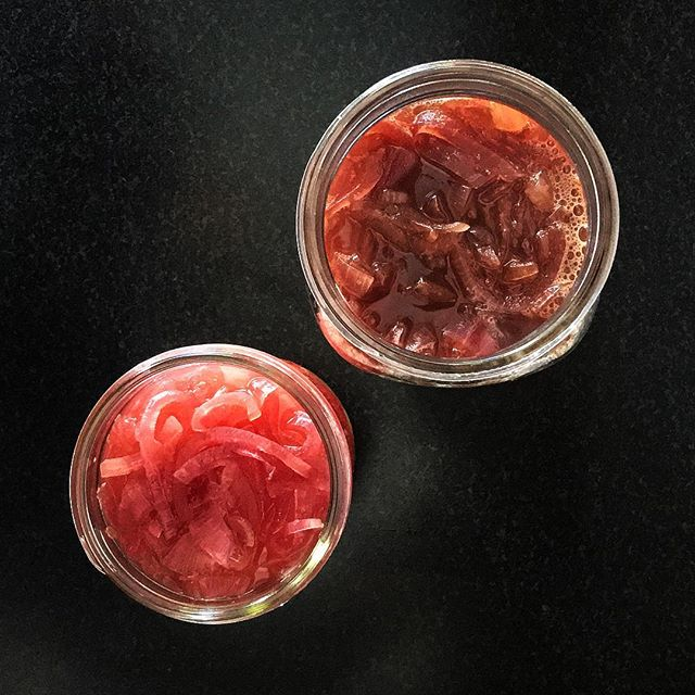 . I've gone completely nuts for pickled red onions! . apple cider vinegar + pomegranate molasses or honey + red onions . simmer for 10-15 minutes . keeps in the fridge for at least 2 weeks