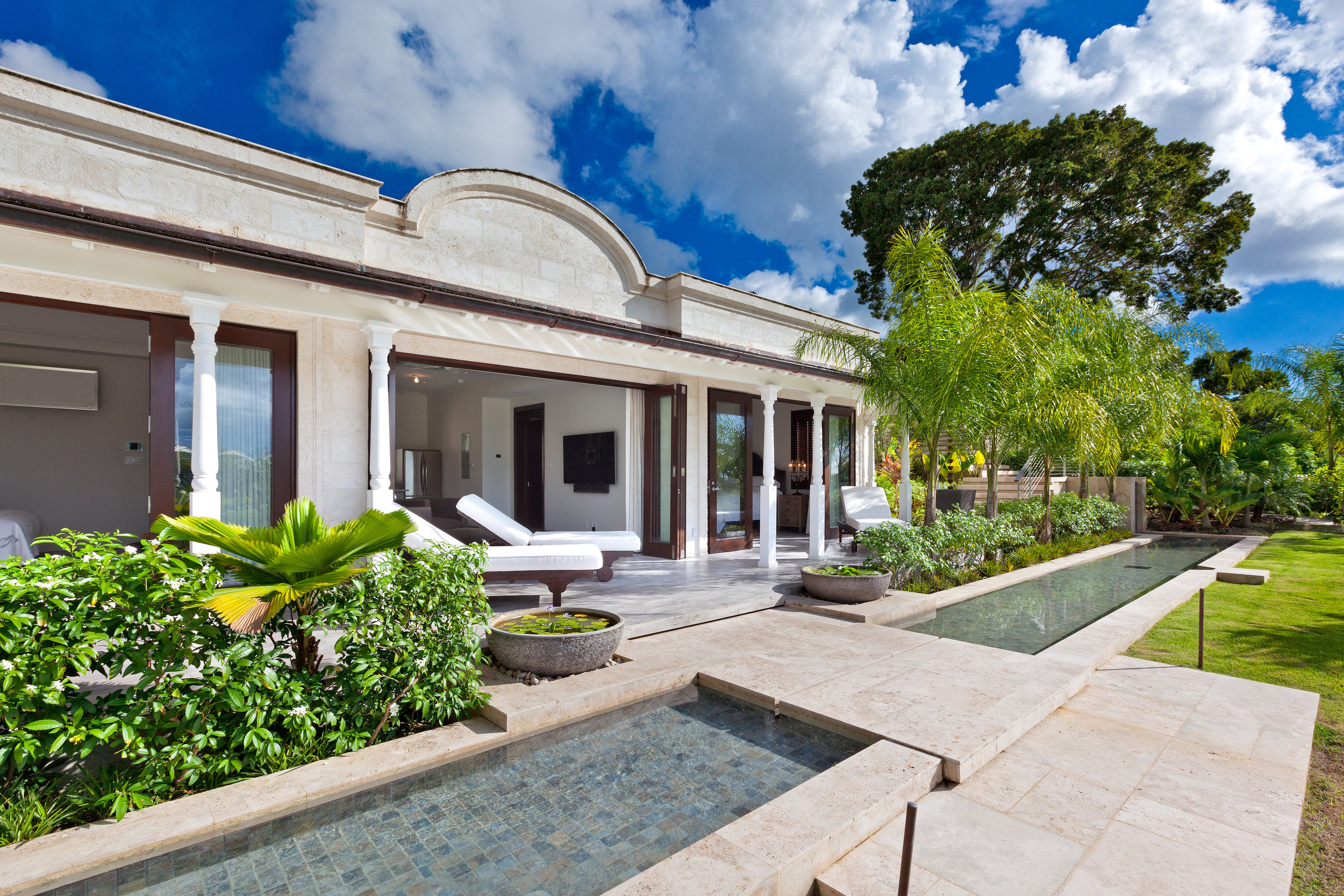 Landscapes designed by Andre Kelshall at a luxury villa in Barbados