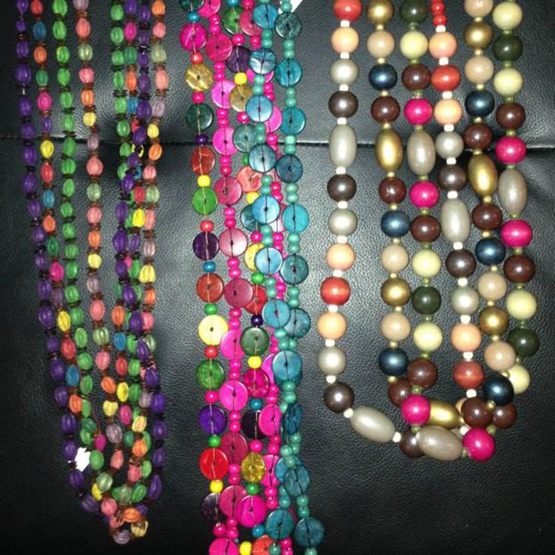 Beaded Necklaces   $17.00 (Cash/Cheque) | $21.67 (Credit)  Assorted handcrafted beaded necklaces in beautiful bright colours. Each unique in design.