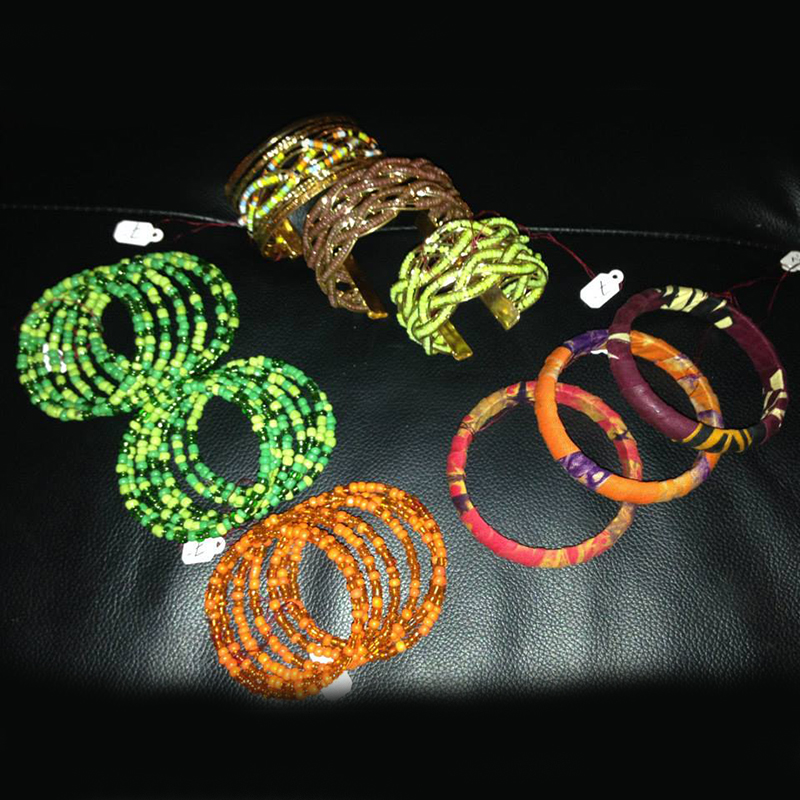 Bracelets & Bangles   $7.00 (Cash/Cheque) | $8.92 (Credit)  Assorted handcrafted bracelets made out of beads, fabric, and wire. Each unique in design.