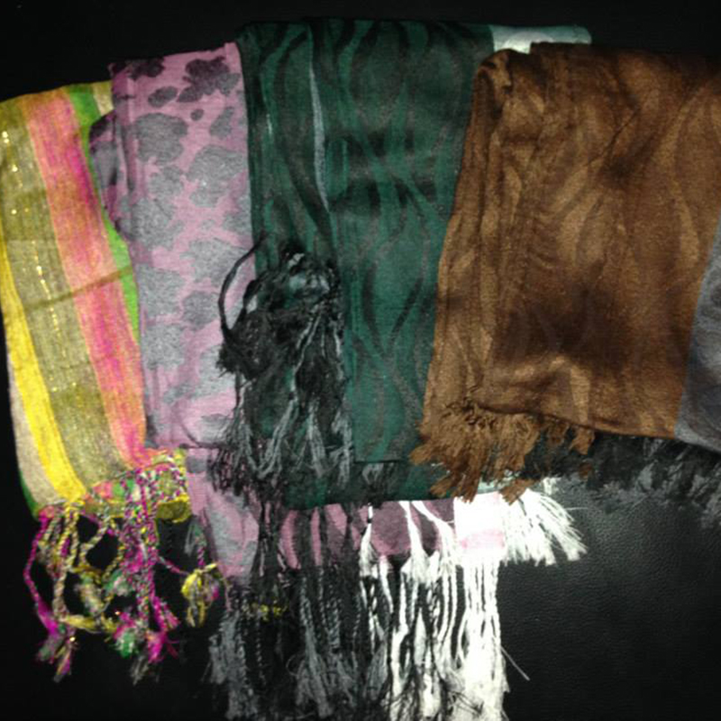 Scarves   $10.00 (Cash/Cheque) | $12.75 (Credit)   Assorted scarves made in a variety of materials. Each unique in design.