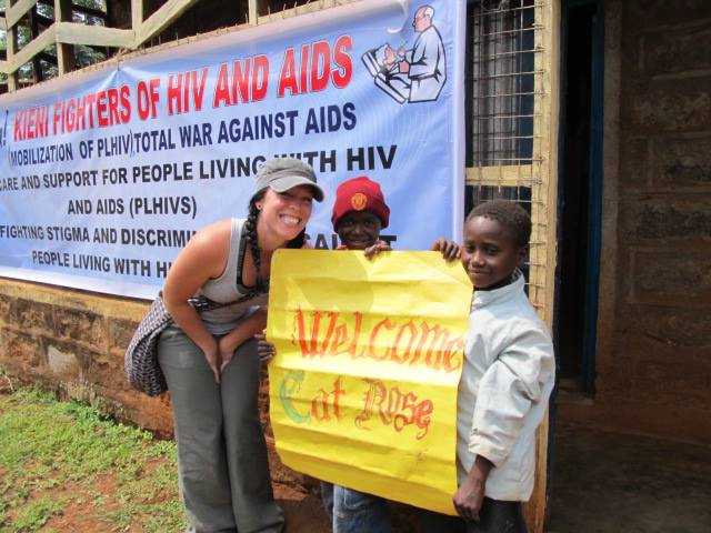 Kieni Fighter's of HIV/AIDS welcoming Cat Ross back to their meeting place. This year K.I.D.S. Initiative was able to purchase medical supplies, food, and Spirulina for each client!