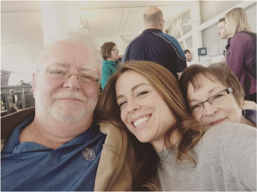 Gilbert, Cat, and Mae Ross awaiting flight to Kenya on January 29th, 2017