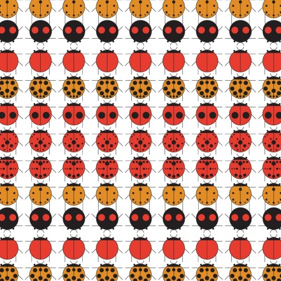What Summer would be complete without a few visits by our friends from the insect world?   Ladybug Sampler  designed by Charley Harper pays homage to this harmless bug with a fun, graphic repeat.