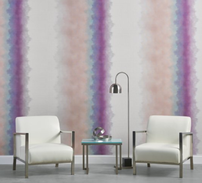 """If you're looking for a fast solution that is more cost effective, there are a multitude of graphic wallcovering patterns that can be purchased """"off the shelf"""" yet can provide a bold look with amazing impact. Below is one of my current favorites,  Ink'd by Symphony . It's offered in a range of colors from subdued neutrals to moody and highly saturated jewel tones."""