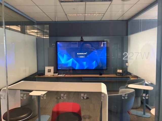 Here is one of the many collaborative areas at The Mothership. This room has a focus on the innovative Bluescape technology which we are happy to be getting in our showroom very soon. They are also presenting a Hoop Table, Openest Chick Poufs, and Pip side tables.