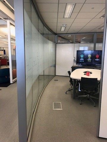 Of course since I was there to learn about the walls I was also taking pictures of some of the amazing movable wall arrangements! Here is a faceted wall in a conference room application.