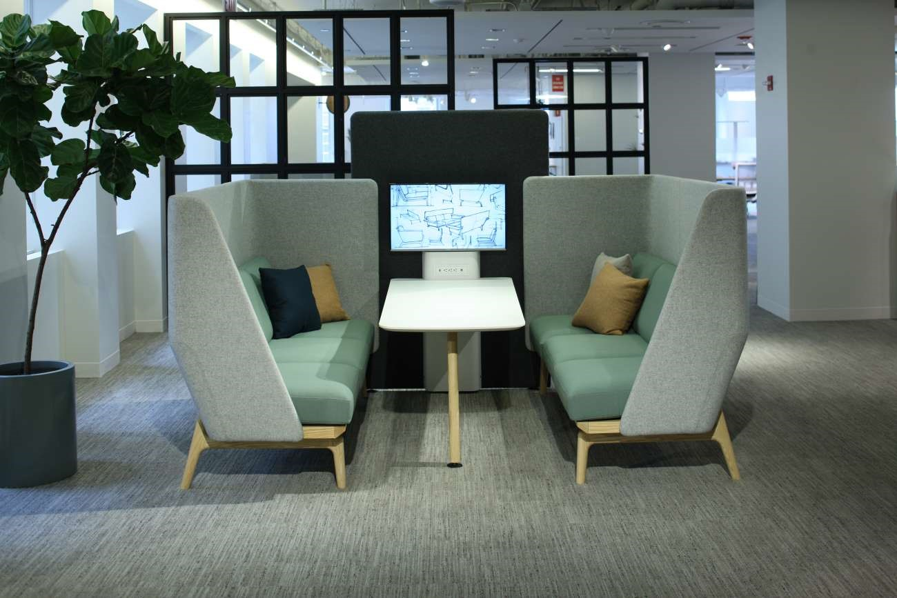 Semi private spaces deliver a temporary area for privacy away from your desk. These provide an area for concentration within an open space but in a far-less populated area of the workspace allowing employees the privacy when they need it for specific tasks.