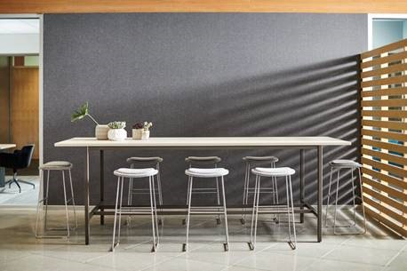 Clean lines of Cultivate combined w/ metal color base and white top for a space that is sleek and modern yet subtly industrial. Or add a little boldness to the base w/ a bright color and storage for a more custom art studio piece.