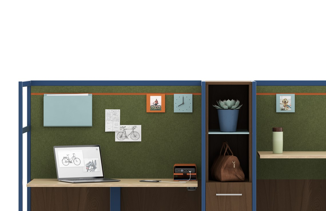 Acoustical panels, Height Adjustable surfaces, Rechargeable Batteries, Personal worktools, attachable storage options.