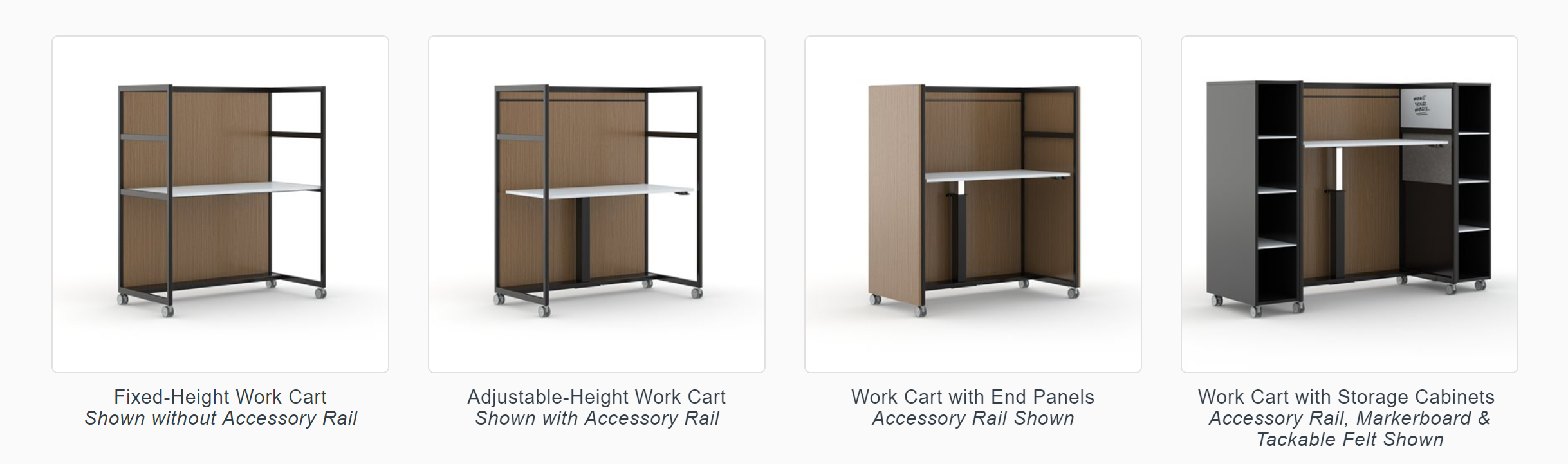 From a fixed-height surface to fully loaded, the KORE Work Cart offers a wide range of adaptability.