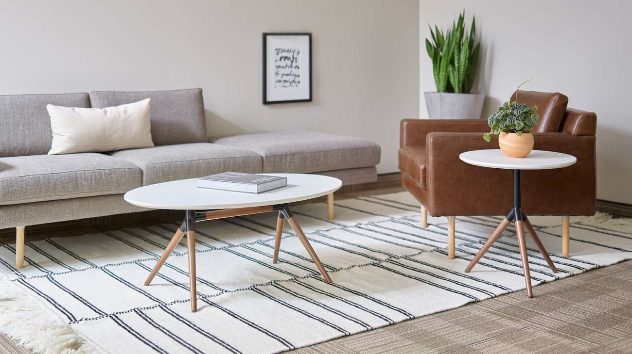 Statement seating is nothing new, and OFS's Rowen brings a mid-century modern vibe while incorporating beautiful colors and textures like this Toffee-like hue of leather.
