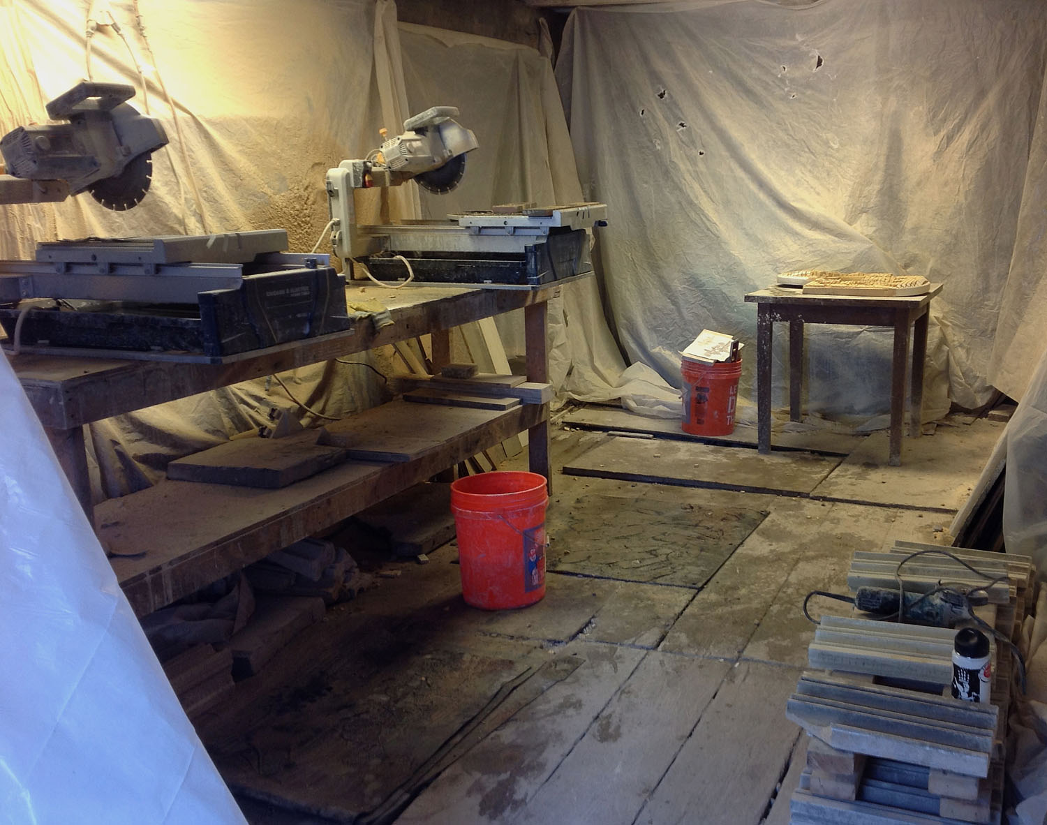 Wet-cutting area at Isaac Bower Studio. Much of the cutting and 'carving' of the parts was accomplished with these saws.