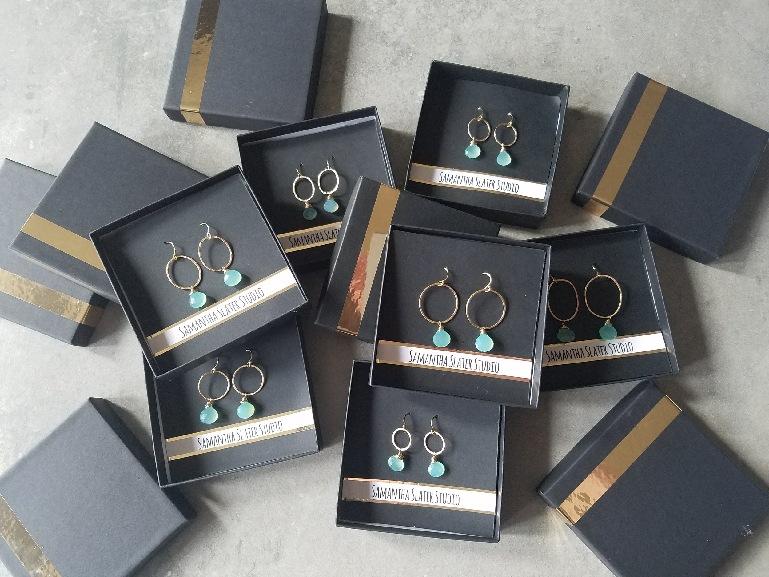 view of packaging of all finished earrings