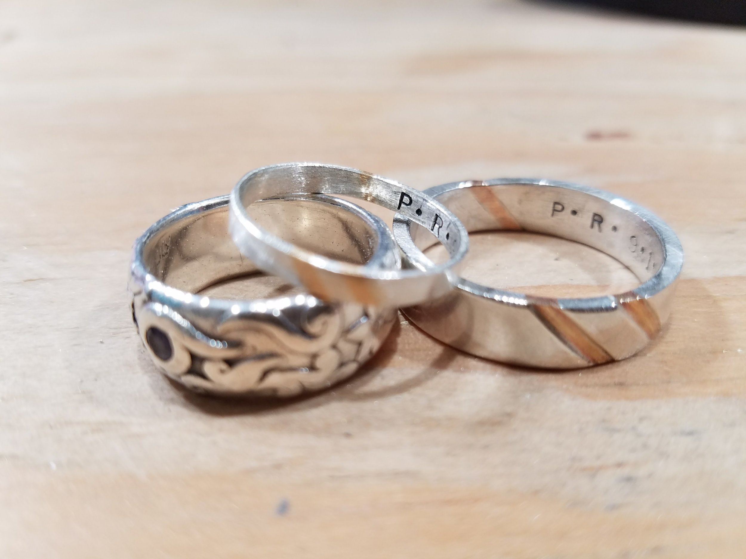 finished bands with engagement ring