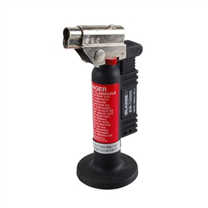 Spitfire Butane Torch    Self Lighting.  Child Proof Safety Lock System.  Continuous flame button.  Adjustable Flame.  A maximum burn time of 45 minutes.  Easy-adjust flame button.  Easy to refill.  Maximum temperature 2500°F.