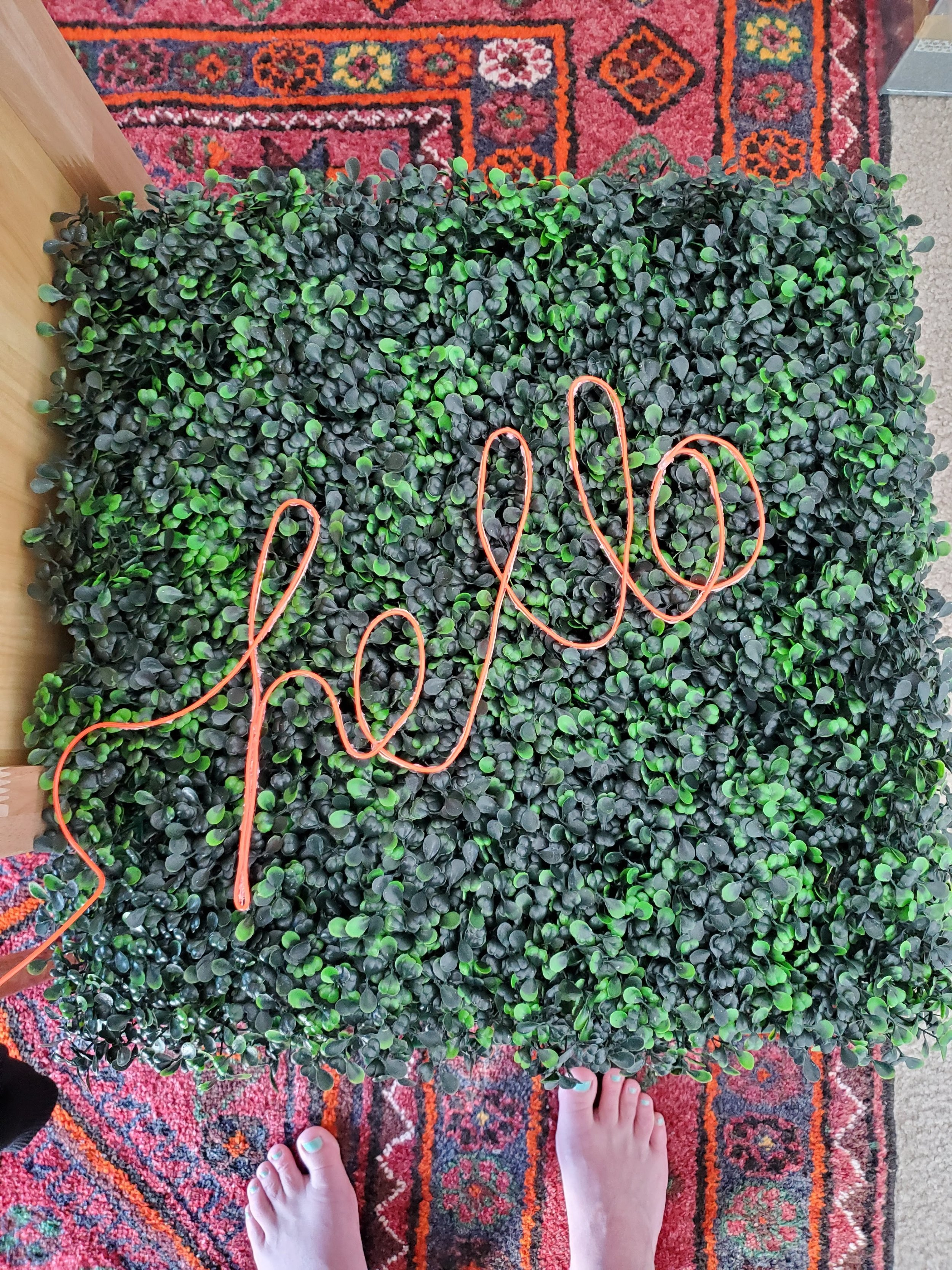 The first version of the plant wall had a neon sign that Sam built using wire and neon cord, but she wasn't 100% happy with the result.