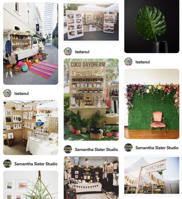 At the same time they created a secret Pinterest board of ideas for booth and tent displays which they added several ideas to.