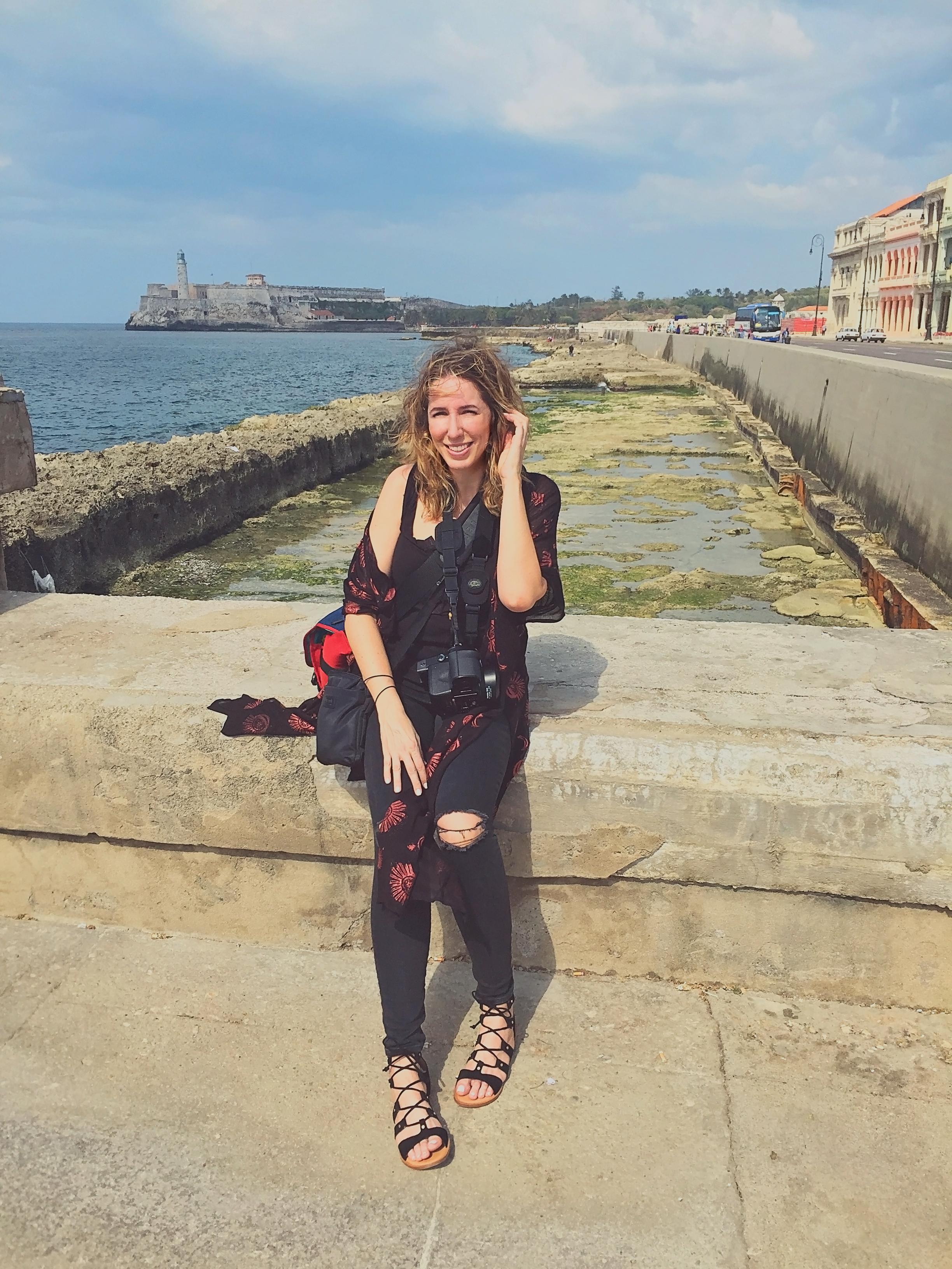 Sara Louise Petty at Malecon, Havana, Cuba.