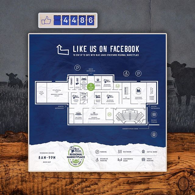 Recent work for the Bluegrass Stockyards: interactive facility map with a real-time Facebook Like Counter and statewide tourism cards. 🐮