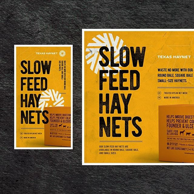 Recent work: creative and digital strategy for Texas Haynet, developer of slow-feed hay nets that reduce waste and provide a wide array of health benefits to animals. 🐮