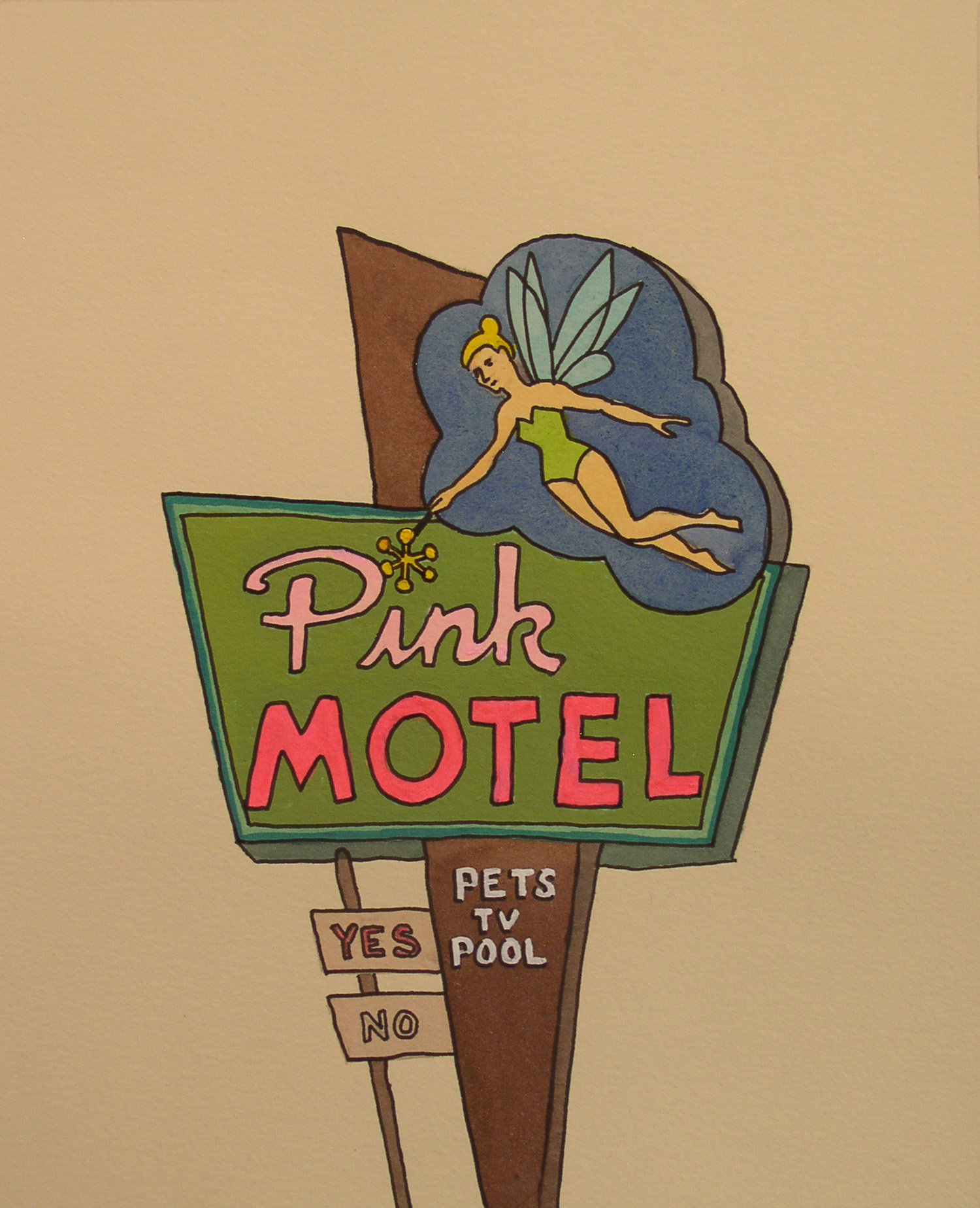 """Pink Motel, watercolor on paper, 16"""" x 12""""    SOLD  to a collector in Brooklyn, NY"""