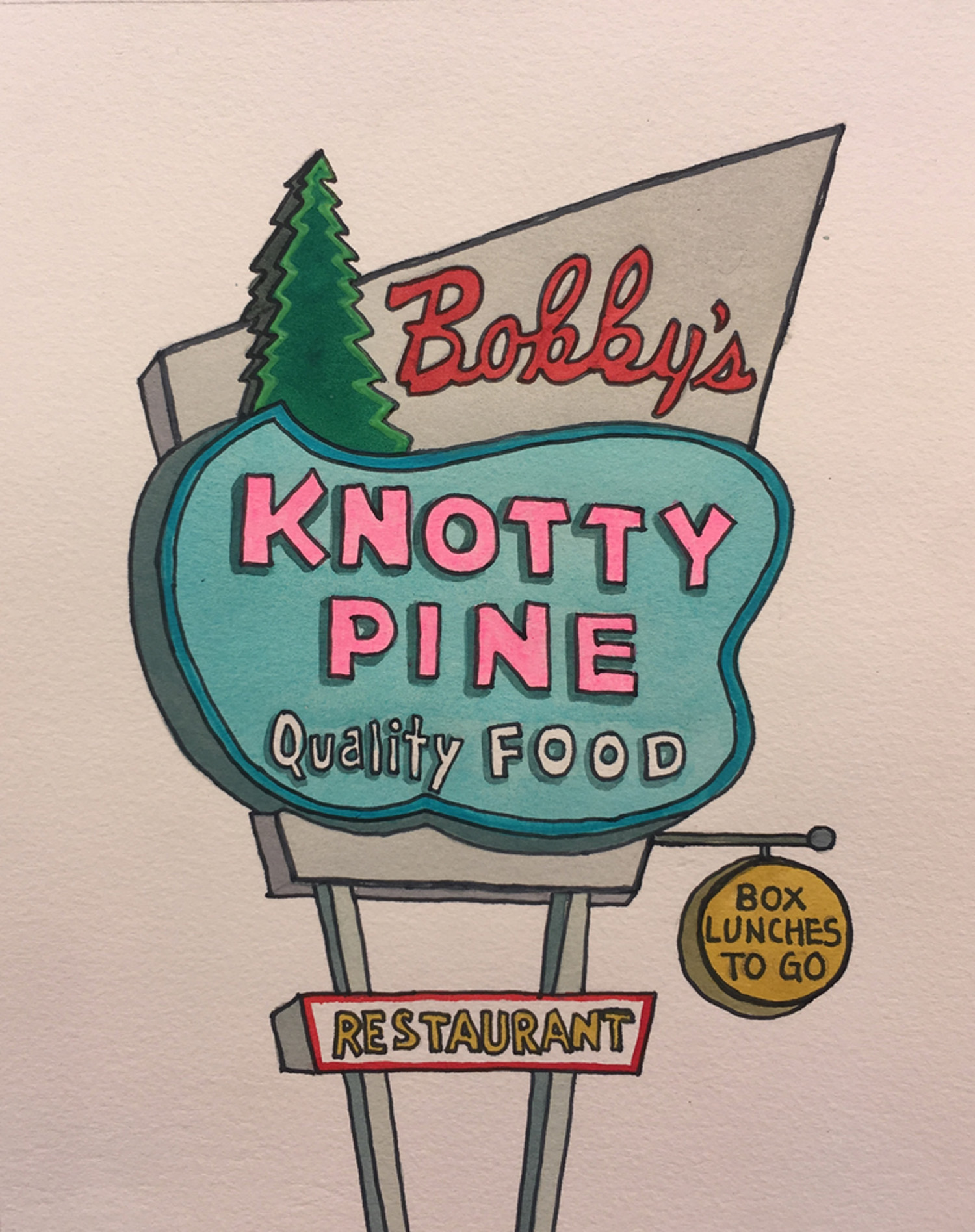 """Bobby's Knotty Pine, watercolor on paper, 16"""" x 12""""    SOLD  to a collector in Jamaica Plain, MA"""