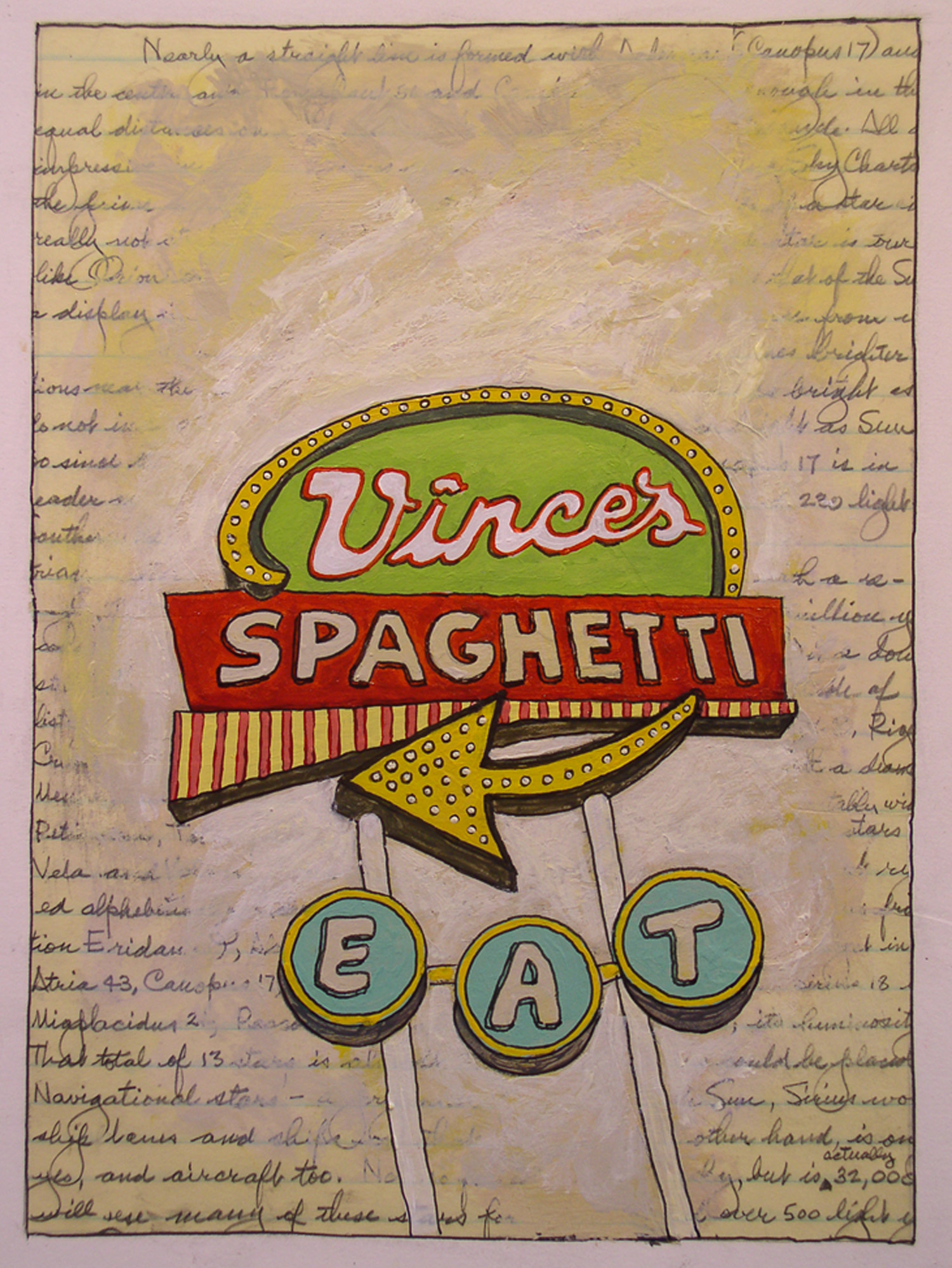 """Vince's Spaghetti, mixed media on paper, 20"""" x 16""""    SOLD  to a collector in West Roxbury, MA"""