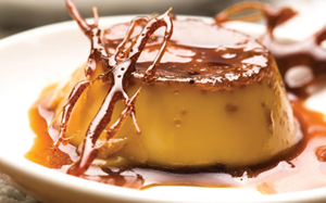 FLAN  Rich custard with a luscious, creamy finish, topped with a layer of caramelized sweetness