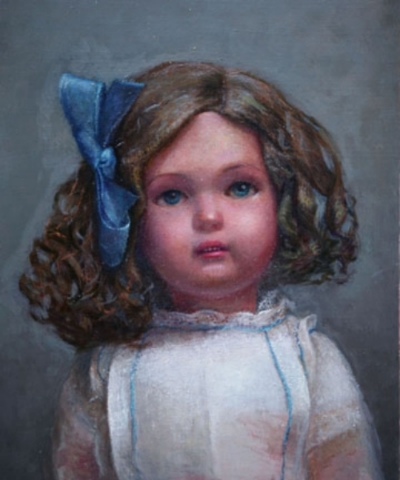 "Clarita With Bow, oil on panel, 8'x10"", 2009"