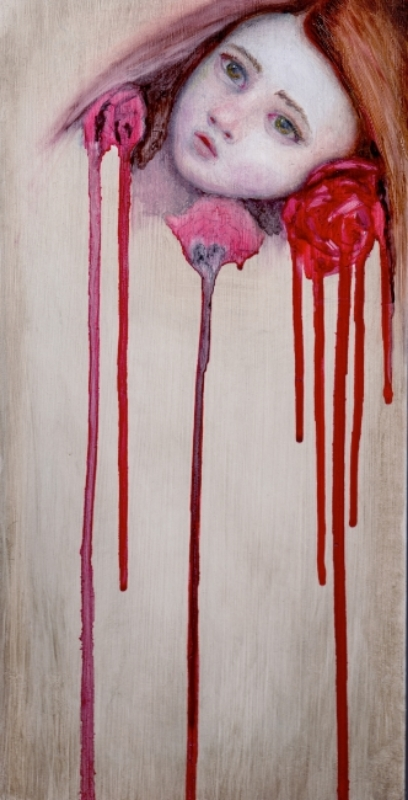 """Blood Roses, oil on panel, 6""""x12"""", 2014"""