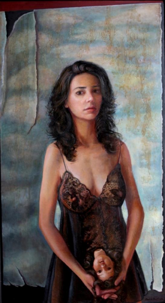 "Self Portrait, oil on panel, 28x42"", 2011"