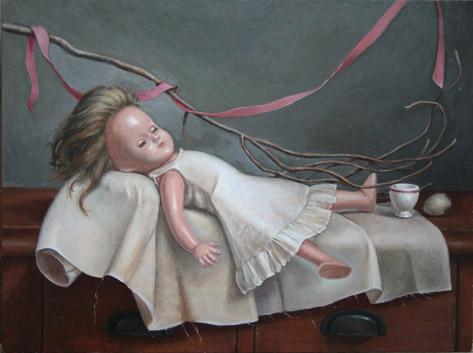 "Delicate Sleeper, oil on panel, 24""x18"", 2009"