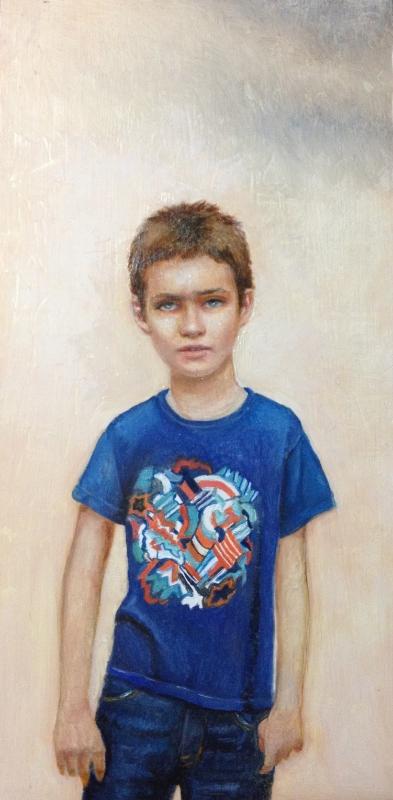 "Daniel, oil on panel, 6""x12"", 2014"