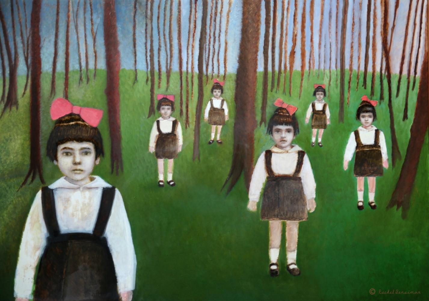 "Little Mothers, oil on panel, 28""x20"", 2012"