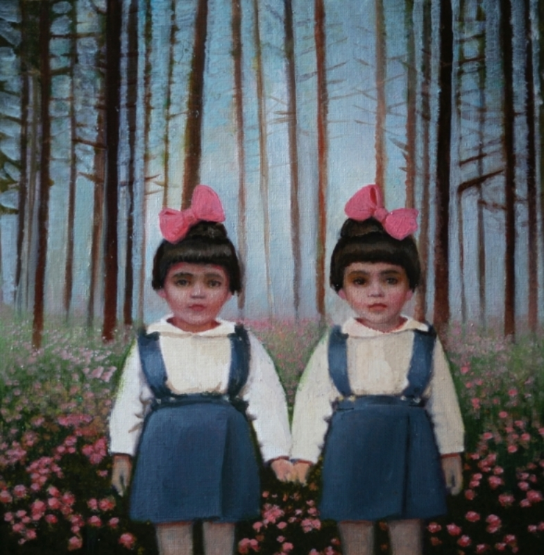 """The Narci Sisters, oil on panel, 8""""x8"""", 2012"""